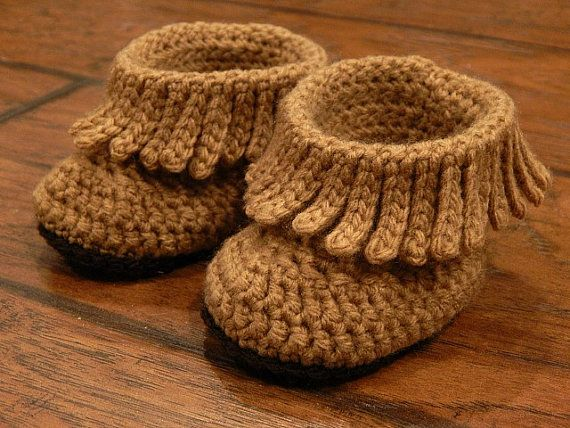 Baby Boots : Short Moccasin Boots Fringe Boots by MissNissDesigns