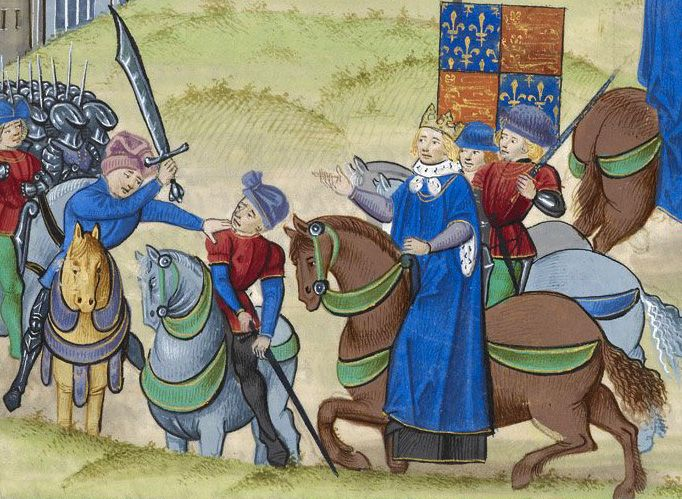 Depiction of Wat Tyler's demise by the hand Sir William Walworth in the Peasants' Revolt of 1381, with Richard II watching.