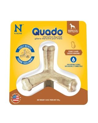 DOG TREATS - CHEW BONES - QUADO DOG CHEW TREAT MINT LARGE - USA - 7 OZ - NATURAL POLYMER - UPC: 657546115110 - DEPT: DOG PRODUCTS