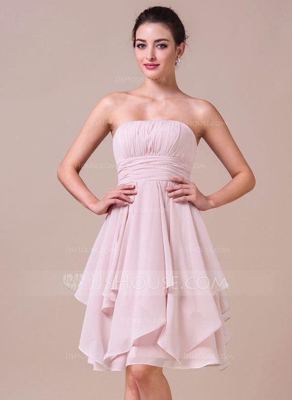 A-Line/Princess Strapless Knee-Length Chiffon Bridesmaid Dress With Cascading Ruffles (007042274)