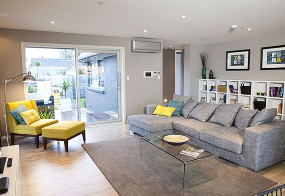 Mitsubishi Electric Designer Series Heat Pump in silver installed in the winning home of The Block NZ Season One