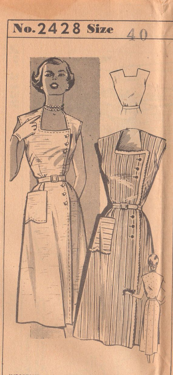 Mail Order 2428 1950s Womens Dress Pattern SideButtoned Square Neckline Mail Order Hoards Dairyman vintage sewing pattern by mbchills