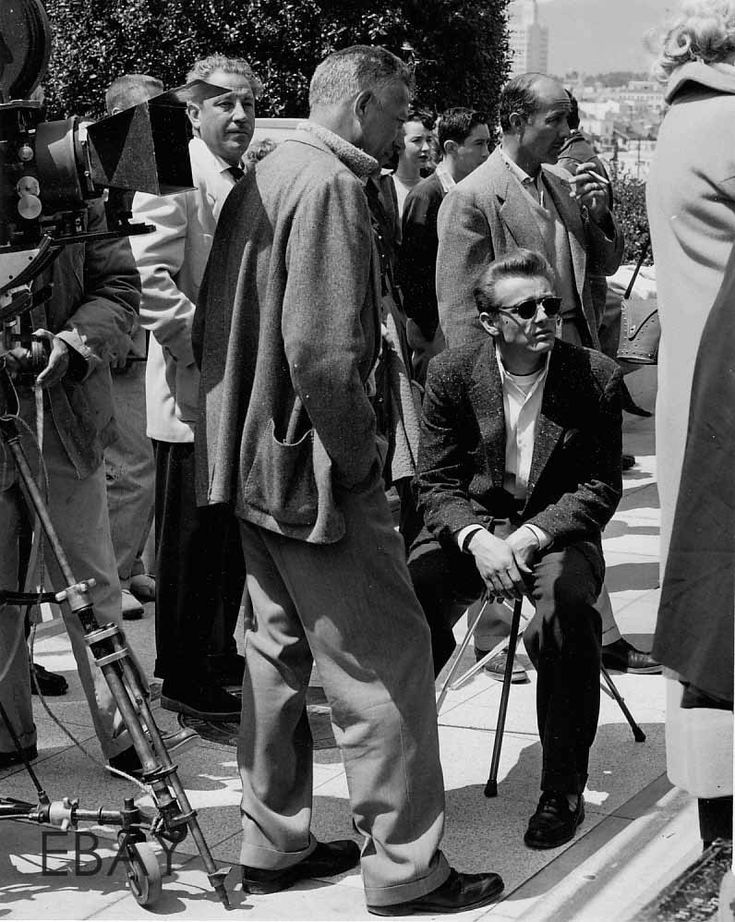 James Dean and director Nicholas Ray on the set of Rebel Without a Cause