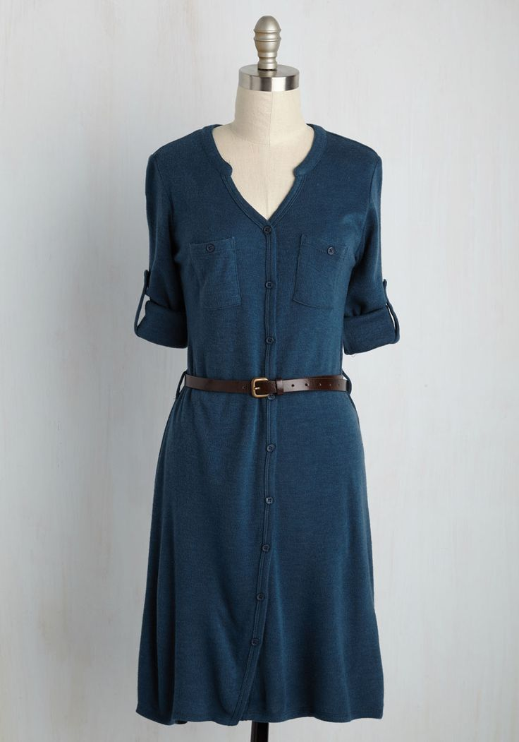 T.A.-Okay Shirt Dress in Blue - Knit, Blue, Solid, Buttons, Belted, Casual, A-line, 3/4 Sleeve, Good, Pockets, Safari, Fall, Mid-length, Scholastic/Collegiate, Work, V Neck, Best Seller, Best Seller