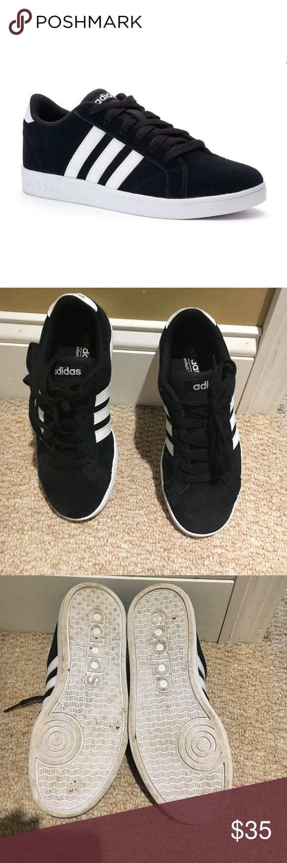 Adidas baseline black suede kids sz 1.5 Adidas Neil baseline black suede sneaker in youth size 1.5. One ones indoors in mint condition small black mark on right shoe shown in picture Adidas Shoes Sneakers