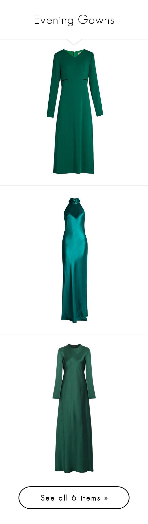 """""""Evening Gowns"""" by empath-eye ❤ liked on Polyvore featuring dresses, gowns, green, long sleeve dress, green dress, long sleeve midi dress, green long sleeve dress, green evening dress, green gown and the row dress"""