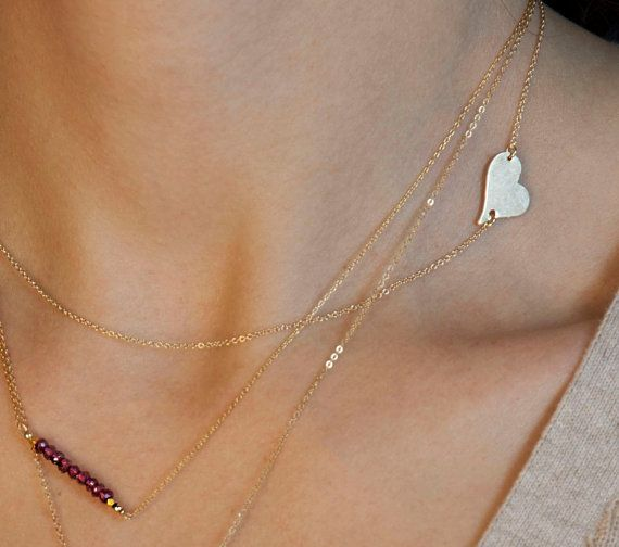 Side Heart Necklace // Personalized Gold or by LayeredAndLong, $28.00