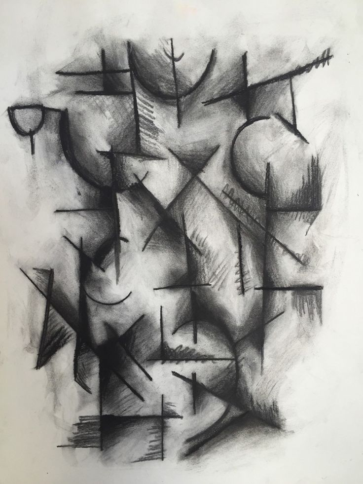 ORIGINAL Abstract Cubist Drawing Charcoal Abstract Black And White Drawing (20.00 USD) by PaintPencilAndPaper