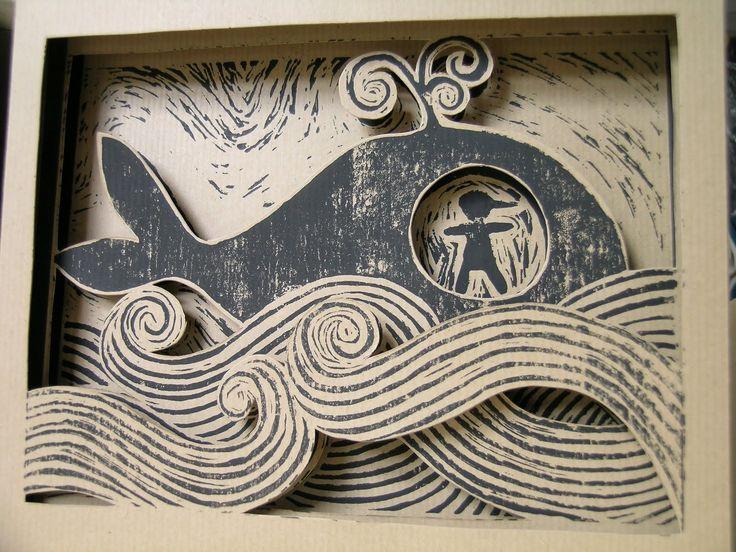 """Autore: Linda Toigo  """"Pinocchio è ingoiato dal terribile Pesce-Cane""""  Scena da un libro su tre livelli illustrato con incisione in linoleum ..."""