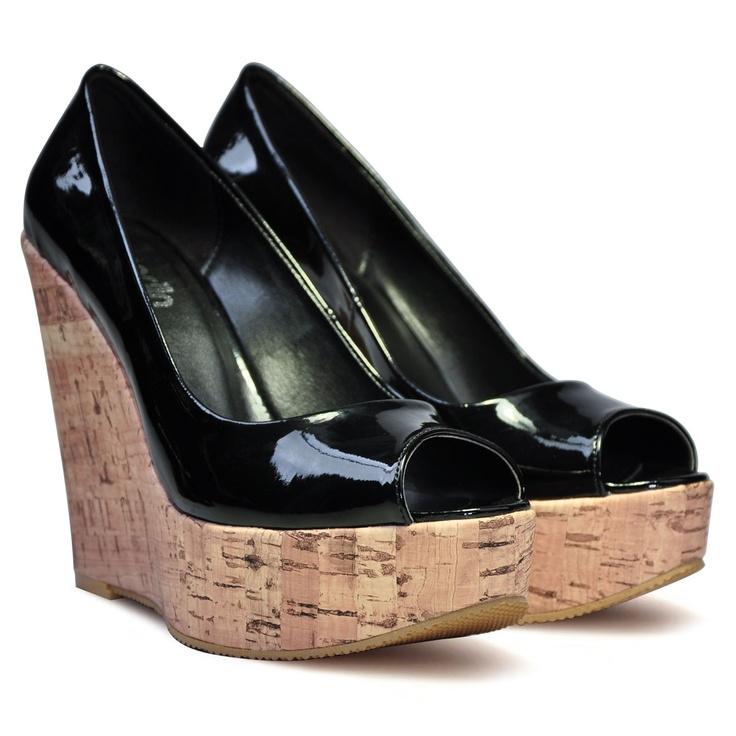 Marjin Animarsi Dolgu Topuk Ayakkabı Siyah Rugan