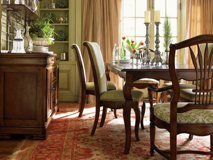 French Country Dining Room   Pale Olive Green Built Ins And Chair  Upholstery, Rusty