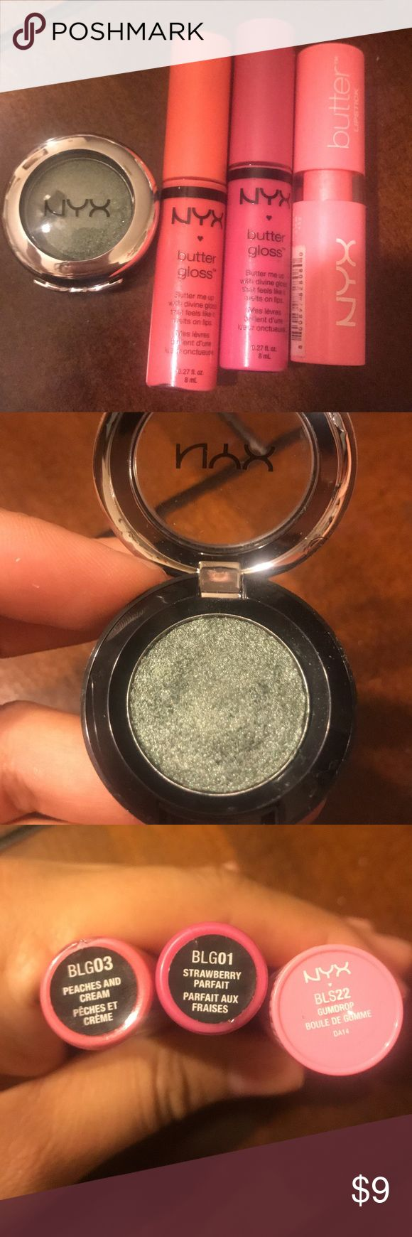 Nyx Lip & eyeshadow Eyeshadow in Jaded de Jade (only swatched), Butter gloss in Strawberry parfait & Peaches & Cream. Butter lipstick in Gumdrop NYX Makeup Eyeshadow