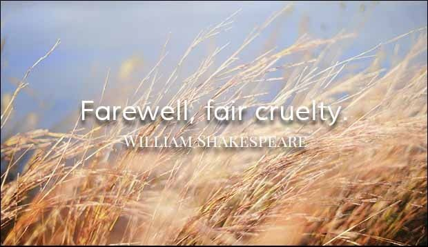 Farewell Fair cruelty Farewell Quotes   Farewell Fair cruelty Farewell Quotes  Farewell fair cruelty.  William Shakespeare  college farewell shayari farewell quotes farewell quotes for seniors by juniors Farewell Shayari Inspiration Quotes Motivation Quotes Quotes William Shakespeare