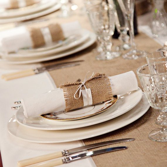 6 Burlap Wedding Table Runners with ivory satin edging