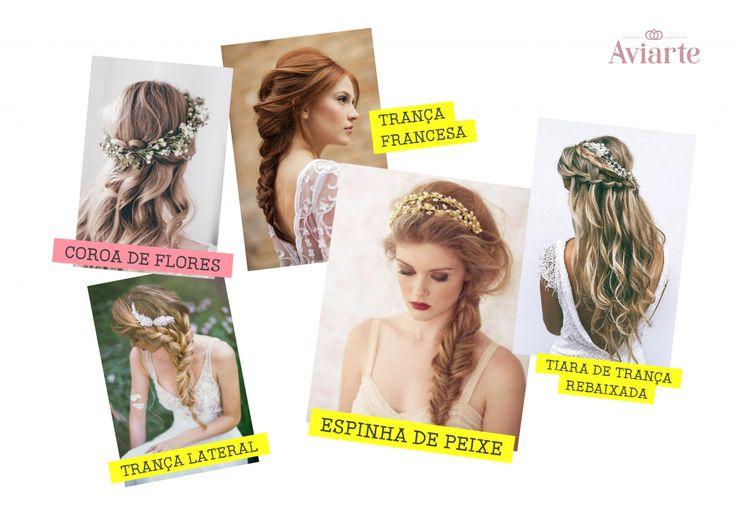 Penteados e unhas de arrasar são tendência para noivas. Confira! - www.aviarte.com.br/blog - #penteados #noiva #tendencia #trança #dica #casamento #noivado #festa #cabelo #penteado