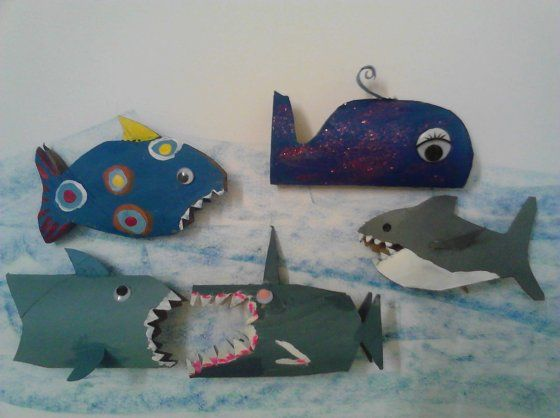 Recycled toilet paper roll made into sharks by Nature of Art
