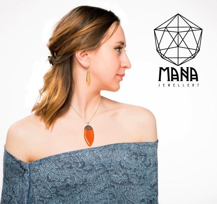 Bright colors! Orange silver acorn necklace and yellow silver earrings by Mana Jewelry Etsy.com/ManabyGekova