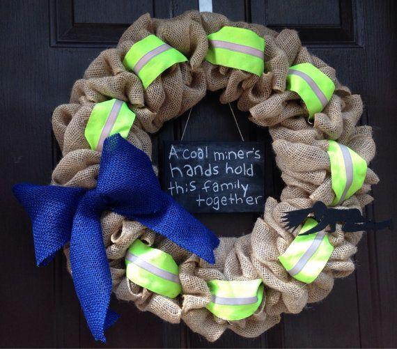 Coal Miner Burlap Wreath with chalkboard on Etsy, $45.00