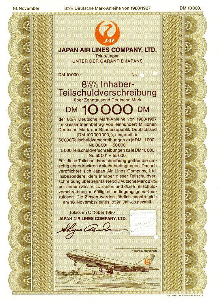 Japan Air Lines Company Ltd. - Teilschuld 10.000 DM - Specimen - Tokio 1980