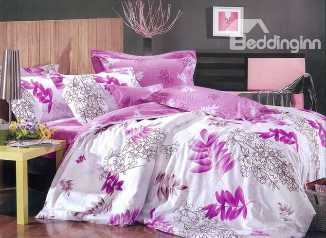 white flower with purple duvet cover 4 piece bedding sets