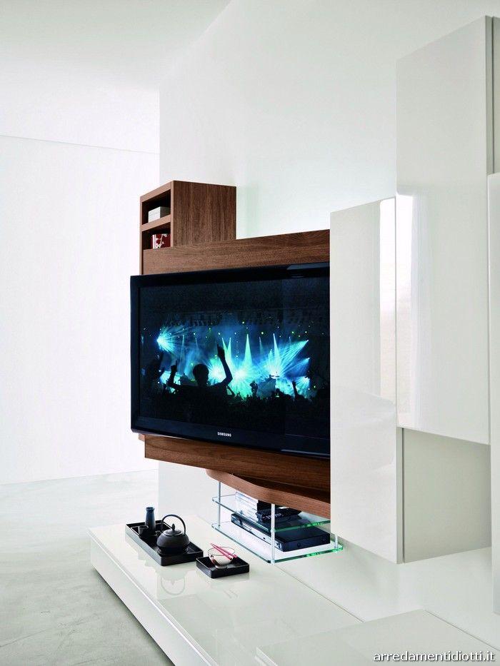 Soggiorno 302 in noce con porta Tv orientabile - DIOTTI A Arredamenti