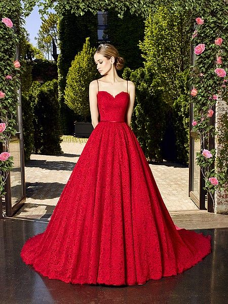 Moonlight Couture style H1321 alencon lace red wedding dress with an A-line silhouette and spaghetti straps. Also available in solid Ivory, and solid White. #MoonlightBridalStyle @moonlightbridal