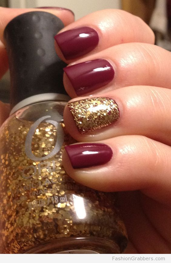 Awesome red and gold nails for the holidays