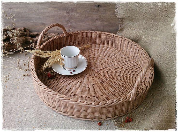 """Купить Большой плетеный поднос """"Тепло дома"""" - коричневый, теплый, домашний декор, уютный дом"""