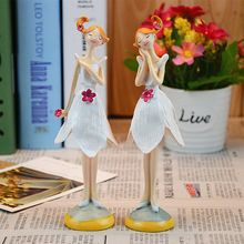 2pcs/set Lovely Miniature Stand Angel Resin Art Ornaments Craft Fairy Figurines Wedding Christmas Gift For Home Decoration A019(China (Mainland))