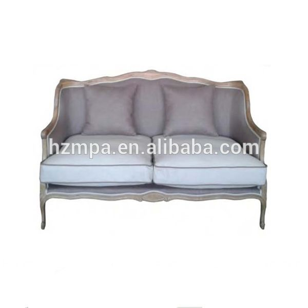 nieuwe ontwerp antieke franse stijl hoge rug houten stoffen zitbank set woonkamer meubels mpasf- 3014b
