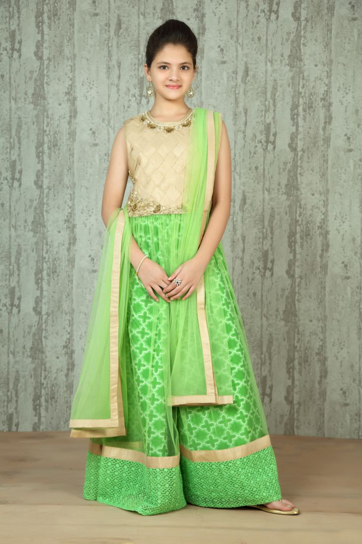 Girls Embroidered Kurta With Palazzo @ LooksGud.in