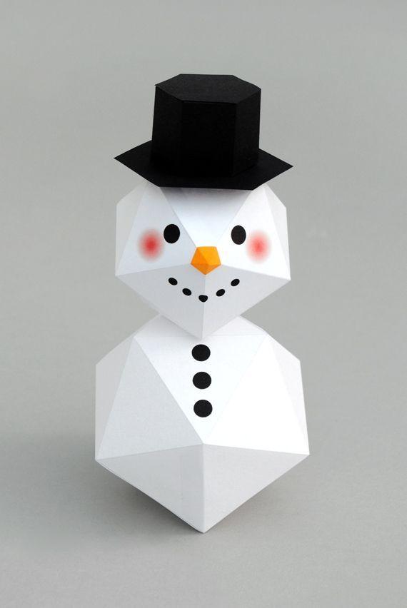 DIY de geometrische sneeuwpop