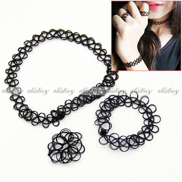 3pcs-90-s-Black-Tattoo-Choker-Necklace-Bracelet-Ring-Set-Elastic ...