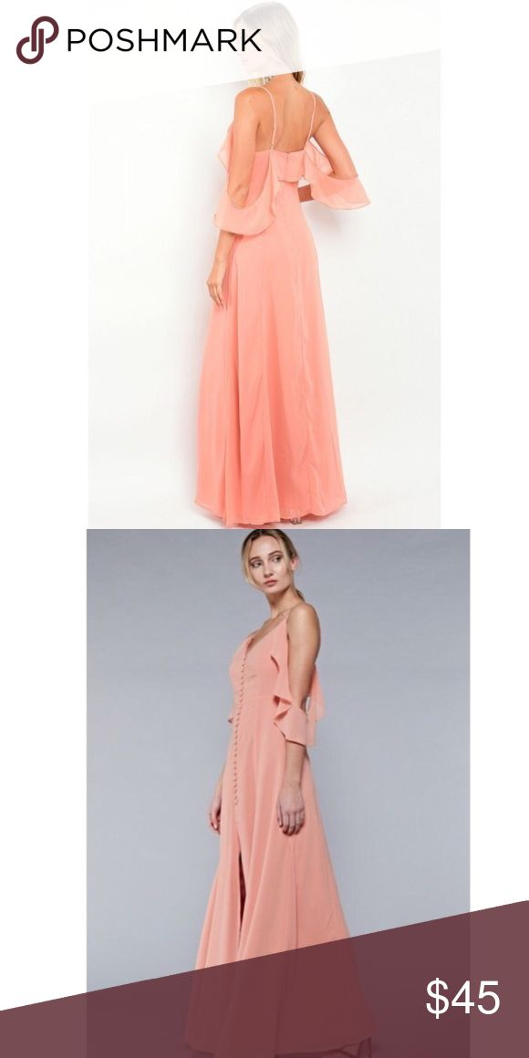 Boutique Peach cold shoulder dress Great dress for any occasion.  Never worn!  Peach maxi dress , cold shoulder and classy. Dresses Maxi