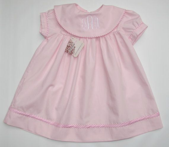 Monogram Dress for girls, Monogrammed Dresses for girls baby girls, Toddler FREE Personalization 2T,3T,4T.  Absolutely gorgeous dress!..Light pink fabric adorned with pink and white striped trim around the sleeves and bottom.  Fabric: Light Pink, 100% cotton.  * This and all our