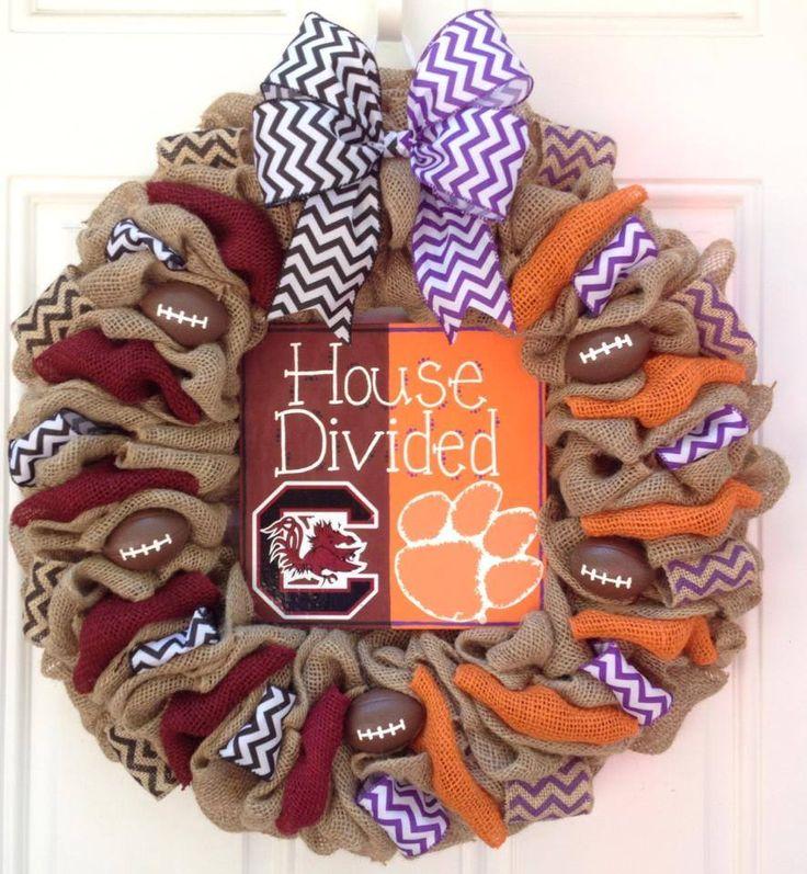 www.faceook.com/cutecraftsbyash Made by Ashley Hughes Clemson Carolina House Divided burlap wreath Cute Crafts by Ash, LLC
