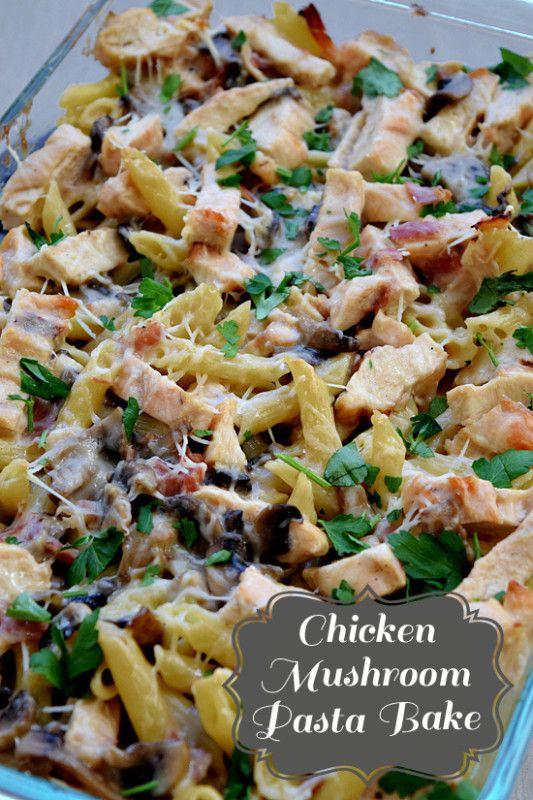 Creamy chicken mushroom pasta bake - mushrooms, prosciutto, and parmesan enhance an already delicious chicken marsala base.