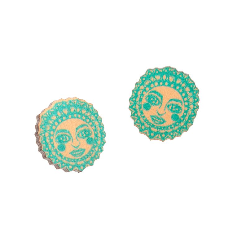 Sunny peach/mint mini stud earrings // Sunny persikka minttu mini nappikorvakorut