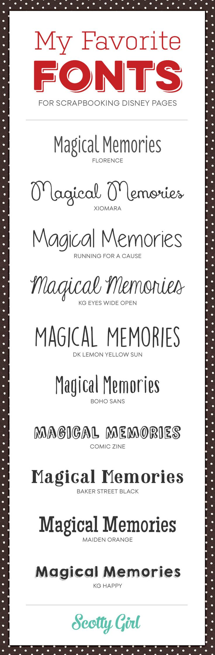 10 Favorite Fonts for Scrapbooking Your Disney Pages | scottygirldesign.com #typography #disneyscrapbooking
