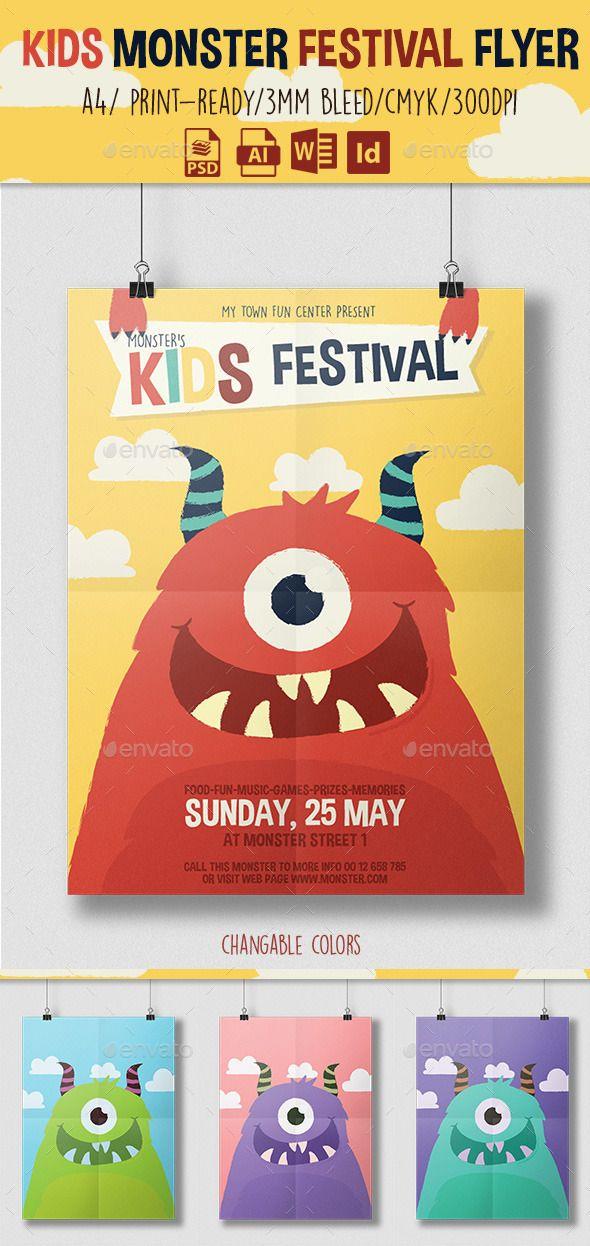 Kids Monster Festival #Flyer #template #graphicriver