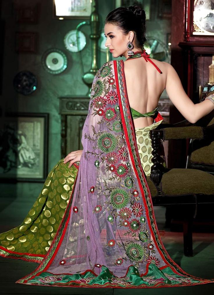 Jacquard half and half saree