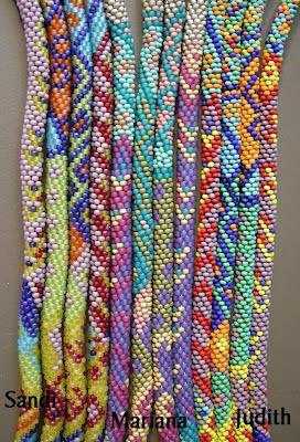 Same pattern set, 3 different interpretations... Beautiful Bead Crochet by Sandi, Mariana, Judith... Watch for eBook in late April 2012.
