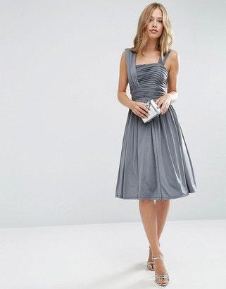 ASOS WEDDING Slinky Ruched Midi Dress - Shop for women's Dress - Gray