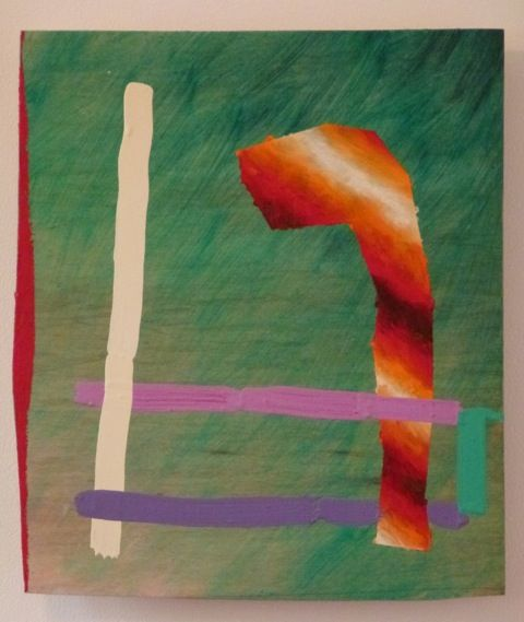 Peter Gouge, R.E. (green), 2014, oil, oil stick and encaustic on plywood, 330 x 290 mm