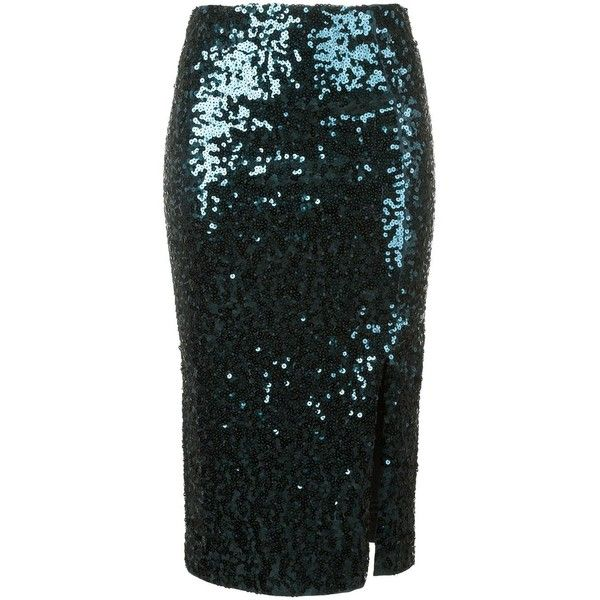 By Malene Birger sequin pencil skirt (£325) ❤ liked on Polyvore featuring skirts, blue, pencil skirt, blue sequin skirt, by malene birger, knee length pencil skirt and blue pencil skirt