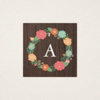 Monograma floral bonito del grano de la guirnalda tarjeta de visita cuadrada