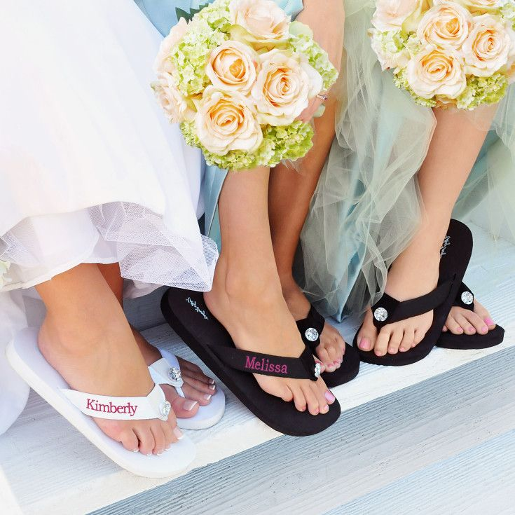 Dance the night away in comfort and style with Exclusively Weddings' personalized flip-flops, a post-ceremony must-have for the entire wedding party!