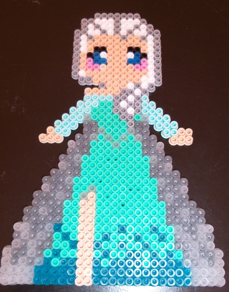 Elsa made out of beads (reminds me of minecraft)