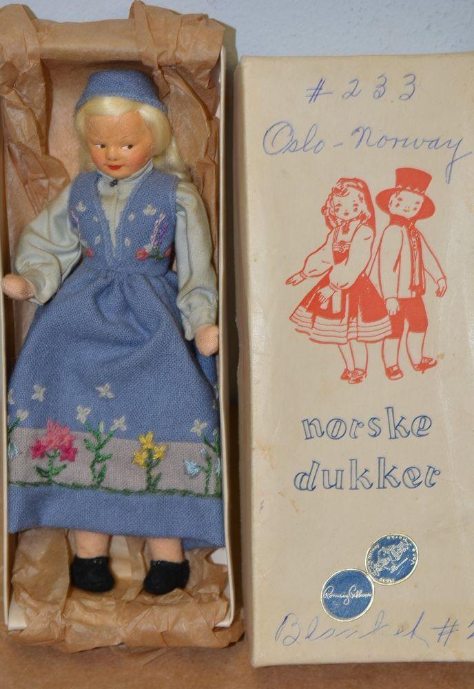 Vintage 1961 Ronnaug Petterssen Felt Norway Doll in Orignal Box (#233)