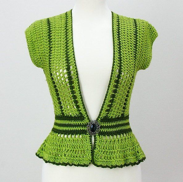CROCHET PEBLUM VEST OR TOP WEAR WITH  A CCAMISOLE OR A-LINE DRESS!  GREAT OR THE OFFICE!